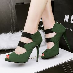 high heels – High Heels Daily Heels, stilettos and women's Shoes Strappy High Heels, Ankle Strap Heels, Stiletto Heels, Shoes Heels, Ankle Straps, Mode Kawaii, Open Toe Shoes, Green Shoes, Fashion Heels