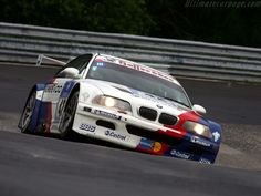 BMW E46 GTR passing the caracciola karussell on the nurburgring nordschleife