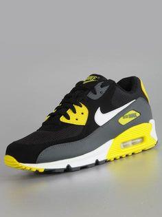 Nike Air Max 90 Essential Black White Sync Yellow Armory Salt #NIke #AirMax #AirMax90 #Sneakers