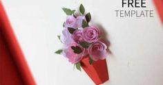 3D paper flower card, popup card, flower card, free template