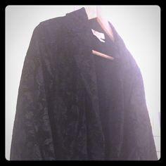 Textured black velvet-like blazer Gorgeous flower pattern! Feels & looks like velvet. Slight peplum cut (see photo). Talbots Jackets & Coats