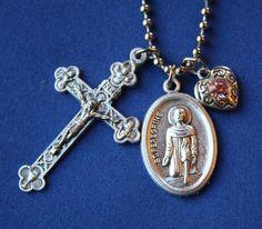 St. Peregrine Saint Medal Liturgy Cross Necklace