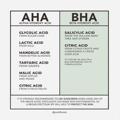 ⠀⠀⠀ Now that we already know the differences between AHA & BHA, Let us now discuss the different kinds … Skin Tips, Skin Care Tips, Homemade Skin Care, Homemade Facials, Skin Routine, Face Skin Care, Skin Treatments, Natural Skin Care, Beauty Skin