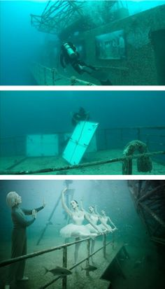 Andreas Franke shot these photos on a sunken ship, and he's exhibiting them there, too!