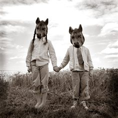 Sister and Brother 5x5 Fine Art Print--Children Masks Horse Field