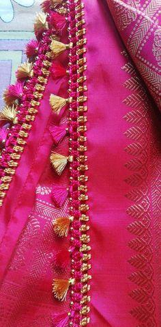 Golden Blouse Designs, Saree Kuchu New Designs, Saree Tassels Designs, Saree Blouse Neck Designs, Fancy Blouse Designs, Hand Work Blouse Design, Stylish Blouse Design, Blouse Designs Catalogue, Lehenga Saree Design