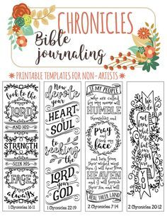 CHRONICLES - 4 Bible journaling printable templates, instant download illustrated christian faith bookmarks, black and white prayer journal bible verse traceable stencils, bible stickers.