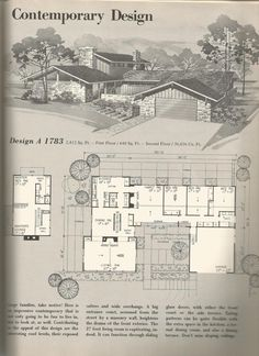 Vintage House plans, mid century homes Small House Floor Plans, Best House Plans, Modern House Plans, Modern House Design, The Plan, How To Plan, D House, Sims House, Cottage House