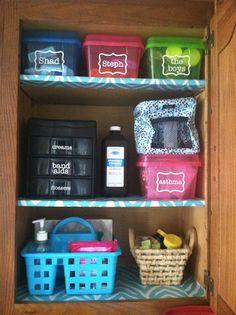 Medicine Cabinet Organization Using Vinyl Labels.  Bathroom Cabinet Organizers
