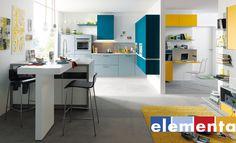 Mobiliario cocina - office Elementa Modelo Biella laca estructura, color azul grisaceo, azul petroleo y retama. Detalle escritorio y mueble de salón