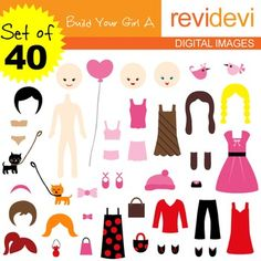 Clip art: DIY paper doll, build your girl (40 graphics).Build your girl cliparts contain 40 graphics. Girl and clothing. Great clip art to mix and match.Cute clip art set for teachers and educators. Great resource for any school and classroom projects such as for creating bulletin board, printable, worksheet, classroom decor, craft materials, activities and games, and for more educational and fun projects.You will receive:- Each clipart saved separately in PNG format, 300 dpi with ...