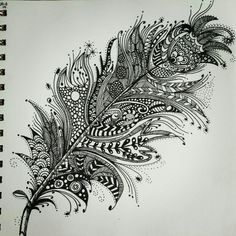 Art, peacock feather tattoo, peacock feathers, zentangle drawings, doodle d Feather Drawing, Feather Art, Feather Tattoos, Drawings Of Feather, Mandala Feather, Peacock Feathers, Kunst Tattoos, Body Art Tattoos, Sleeve Tattoos