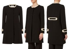 Washington Crepe Coat by GOAT is made from heavy-weight black crepe and edged with beige trims at the neckline, cuffs and back.
