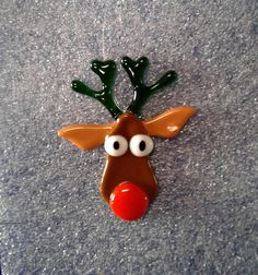 Fused Glass Reindeer Christmas Ornament CO101