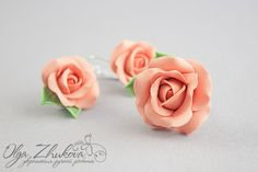 Earrings and a ring of roses from polymer clay by polyflowers.deviantart.com on @DeviantArt
