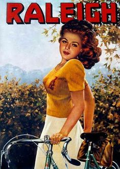 A woman in a Raleigh poster,. - Art by Le Cadre Bicycles. Velo Retro, Velo Vintage, Vintage Cycles, Vintage Bikes, Vintage Bicycle Art, Raleigh Bicycle, Raleigh Bikes, Bicicletas Raleigh, Poster