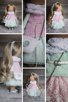 Decor doll blonde pink green Nursery decor by AnnKirillartPlace