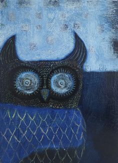 "Dark Blue Owl 7"" by 5"" by Cathie Joy Young"