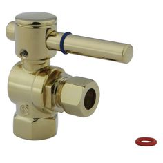 "Kingston Brass Concord Angle Stop with 3/8"""" IPS x 3/8"""" OD Compression - Polished Brass"