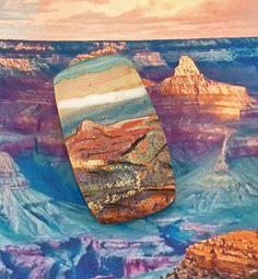 Handmade Polymer Clay 24 x 42 mm Rustic Pendant Focal-Canyon Dream-Southwestern…