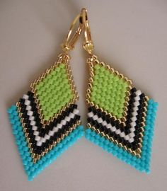 These pretty beadwoven earrings are lightweight & petite, & handmade with opaque chartreuse, turquoise, matte cream, opaque black, & golden delica seed