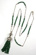 "Stunning Emerald & CZ Tassel Necklace-Vermeil~36""Long~Deco Flapper Style~Sparkle"