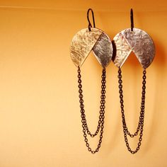Moons Crossing, geometric two tone earrings with draped fringe, brass and nickel, mixed metal and chain