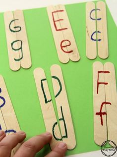 Uppercase and lowercase popsicle stick puzzles, make with three small sticks?