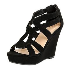 da0c42cb1ee Women s Strappy Open Toe Platform Wedge BK1 10... Bead T-Strap High