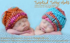 Twisted Taffy Hat for twins! Original design available at www.TrickyKnits.com.