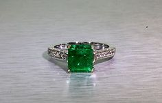 Estate $12 000 3 50ct Colombian Emerald Diamond 18K White Gold Wedding Ring | eBay