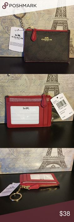"""Coach ID Case Signature coated canvas.  Accent colors are dark red and light gold.   There is 1 credit card slot and an ID window.  Zip-top closure.  Inside is fabric lined and Cain be used for coins, folded bills, etc.  4.25"""" long and 3"""" high.    Bundle two or more items from my closet to save on shipping.    Let me know if you have any questions! Coach Bags Wallets"""