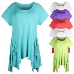 Curvylicious Women's Plus Size Short Sleeve Asymme...($19.95)