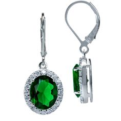 Tsavorite Green CZ White Gold Plated 925 Sterling Silver Leverback Dangle Earrings -- See this awesome image  : Jewelry Earrings