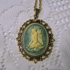 Fairy Necklace Green and Cream Fairy Cameo Necklace Faerie