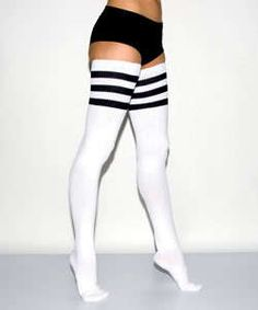 Show off your love for soccer with these sexy 3 stripe soccer thigh highs. These over the knee striped socks turn your sneakers and shorts into a sexy outfit, but you can pair them with heels for the ultimate girly soccer fan outfit.
