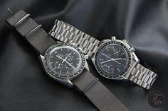 Omega Speedmaster Reduced (rechts) mit arabischen Ziffern als Stundenindexe vs die Omega Speedmaster Professional Moonwatch (links im Bild)