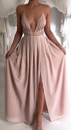 #outfit #ideas / nude maxi dress