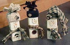 Wood Scrap Snowmen - Christmas Holiday Arts and Crafts - December - KinderArt