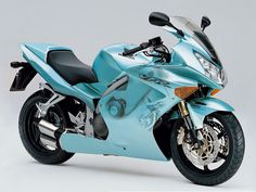 Sky blue Honda sport bike