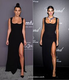 QUEM VESTIU MELHOR? Kourtney Kardashian X Bruna Marquezine Kourtney Kardashian, Versace, Ideias Fashion, Actresses, Formal Dresses, Thighs, Legs, Ponytail, Long Dresses