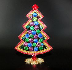 "Unique Czech Rhinestone Christmas Tree (Decoration) #629 - height: 4 3/10"" - multicolored"