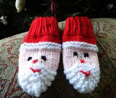 santa mittens for babies knitting pattern