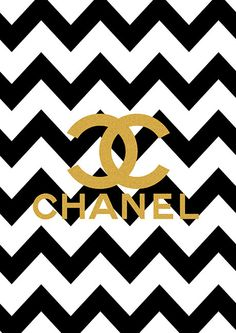 Limited edition Gold Chanel Logo Black Chevron Print on Etsy, $18.00