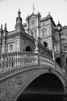 Plaza de Espana - Seville, Spain Greyscale Edit