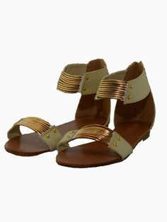 Metal Flat Sandals With White