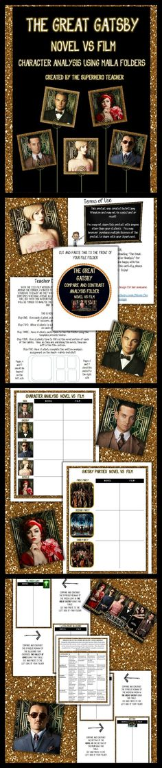 FREEBIE!! I (hopefully) will be taking my students to see The Great Gatsby May 10th when the movie comes out, so here is a product I created that requires students to compare/contrast the novel and film using manila folders. PLEASE provide feedback if you decide to use it!! :)