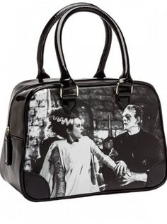 Frankenstein Lace Silver Horror Halloween Rockabilly Rocker Punk Goth Handbag
