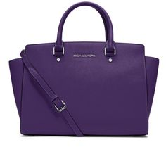 """MICHAEL KORS- Large Selma Satchel in Grape 100% authentic! Non-smoking. Perfect condition. No trades.                                                     -100% Saffiano Leather  -Top Handle: 4.5""""  -Adjustable Strap: 17.5-19.5""""  -Interior: One Inside Zip Pocket, Two Open Inside Pockets  -14"""" x 9"""" x 3.5""""  -Top Zip  -100% Polyester Lining Michael Kors Bags Satchels"""