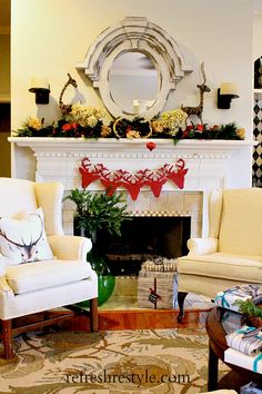 Christmas Mantel {Deer Inspired} - Refresh Restyle